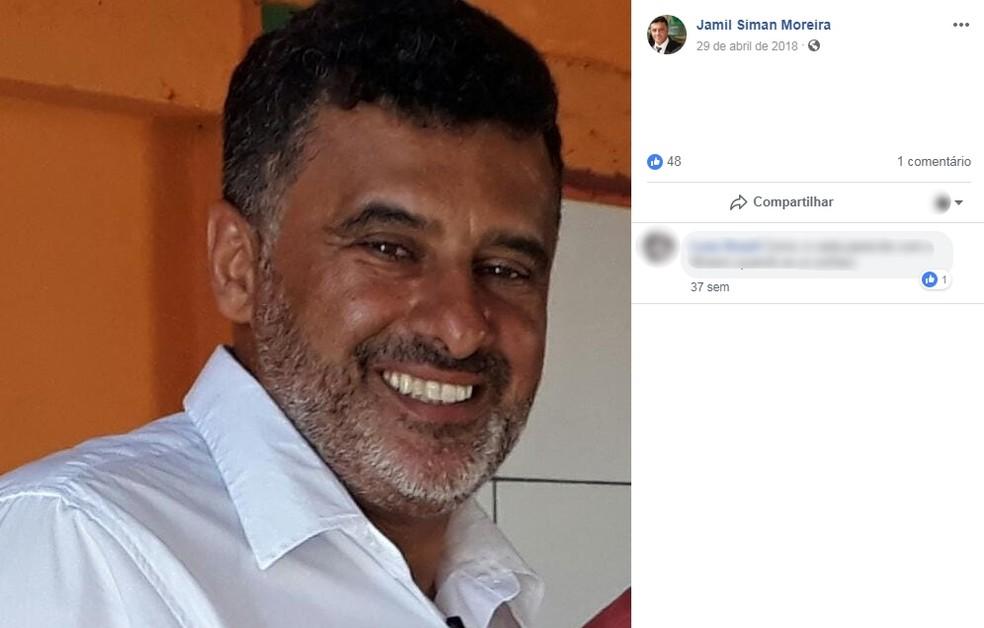 Geraldo Jamil Siman de Moreira, de 51 anos, foi morto nesta sexta-feira *18( — Foto: Facebook/Reprodução