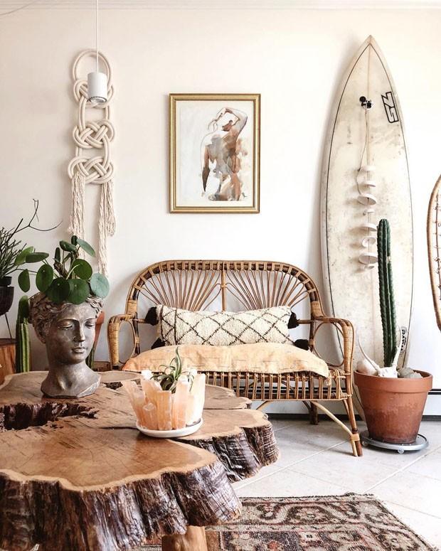 Décor do dia: sala de estar com decoração rústico-boho (Foto: sadies_lovely_life/Reprodução)