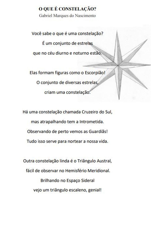 Poema 'O que é Constelação', do livro 'Astronomia em versos' — Foto: Reprodução/'Astronomia em verso'