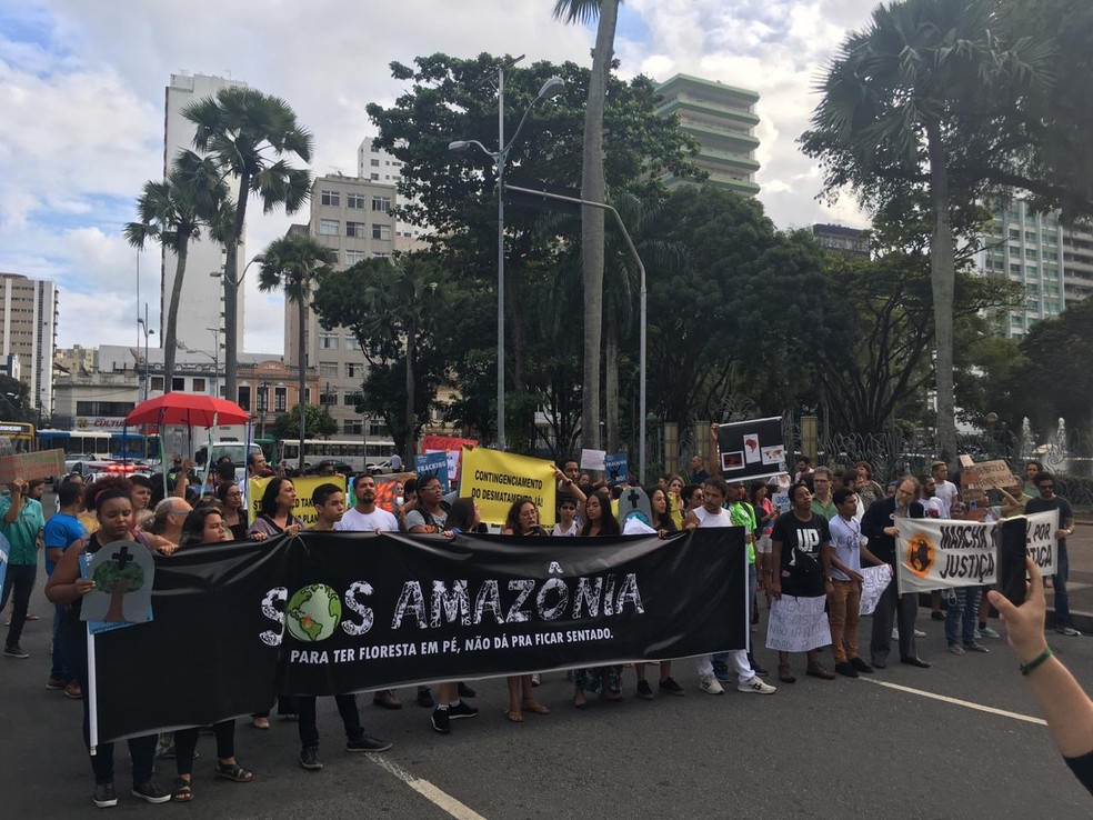 Grupo caminhou da Praça Municipal até o Campo Grande para protestar contra desmatamento da Amazônia — Foto: Isabela Cardoso/ G1