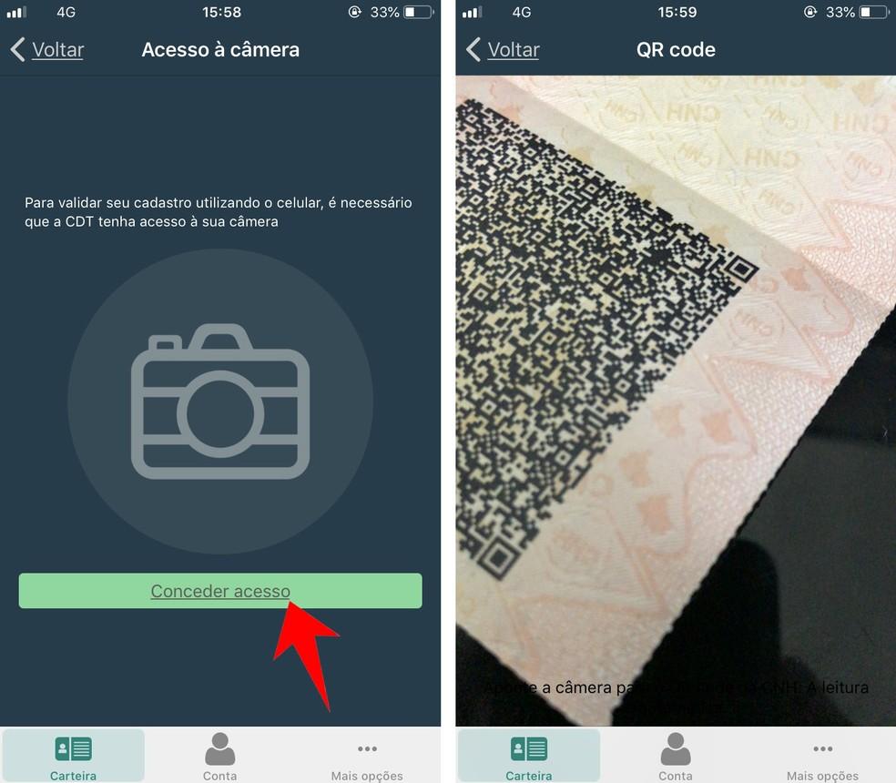 App CNH Digital escaneia o QR Code impresso na habilitação para liberar versão no celular — Foto: Reprodução/Rodrigo Fernandes