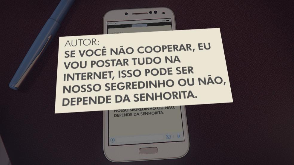 Trecho de mensagem do suspeito a vítima (Foto: TV Globo/Reprodução)