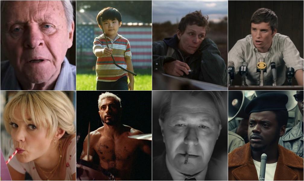 Na ordem, 'Meu pai', 'Minari', 'Nomadland', 'Os 7 de Chicago', 'Bela vingança', 'O som do silêncio', 'Mank' e 'Judas e o Messias negro' concorrem ao prêmio de melhor filme no Oscar 2021 — Foto: Divulgação
