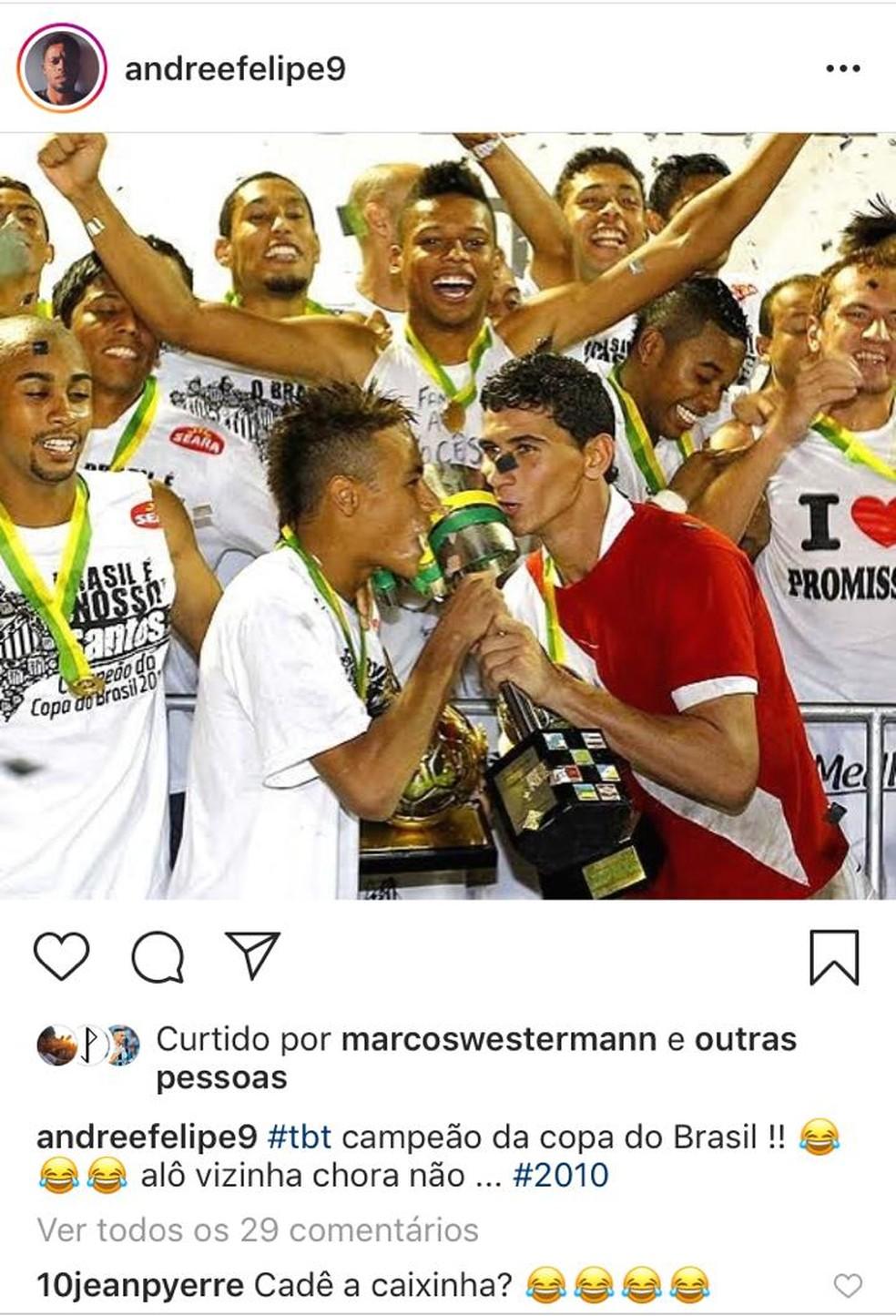 André tira onda com o Inter no Instagram — Foto: Reprodução