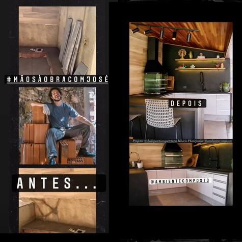 Antes e depois da área gourmet de José Loreto (Foto: Reprodução Instagram)