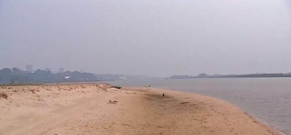 Com a estiagem de 2020, o nível do rio Paraguai, no Pantanal caiu e vários bancos de areia apareceram no leito — Foto: TV Morena/Reprodução