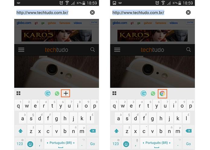 Adicione atalhos de seus apps e acesse de forma rápida com o Ginger Keyboard (Foto: Reprodução/Barbara Mannara)