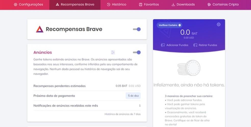 Tela para configuração do sistema de recompensas do navegador Brave — Foto: Reprodução/Marvin Costa