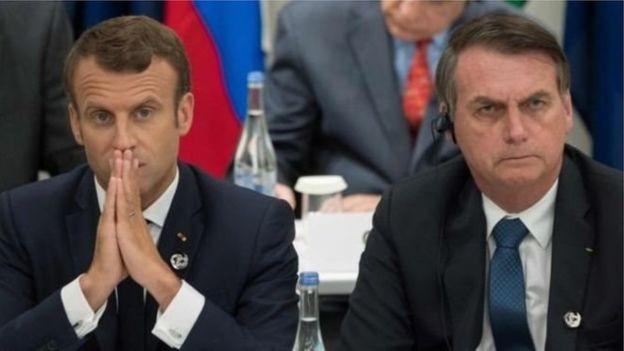 Macron e Bolsonaro foram fotografados lado a lado na reunião do G20 em Osaka em junho (Foto: AFP via BBC News Brasil)