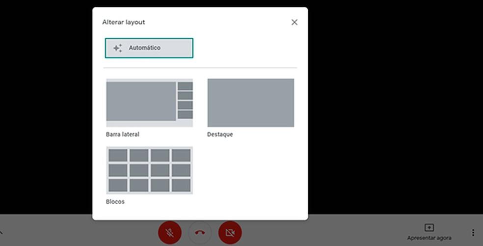 Usuários podem escolher layout para visualizar todos os participantes da sala — Foto: Reprodução/Caroline Doms