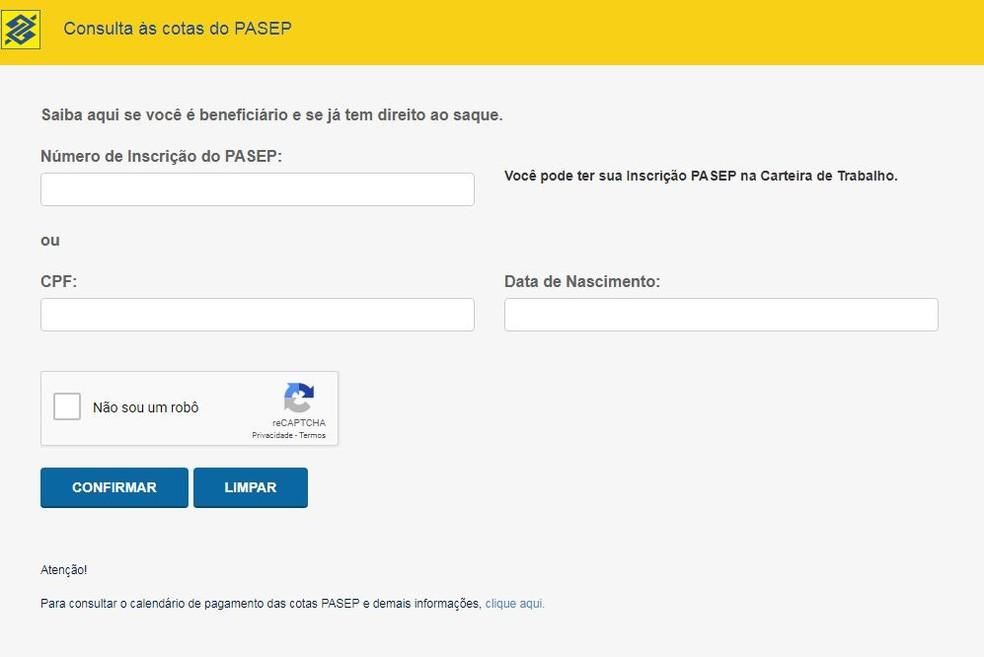 Tela do site do BB na qual é preciso colocar os dados pessoais para acessar o saldo do Pasep — Foto: Reprodução