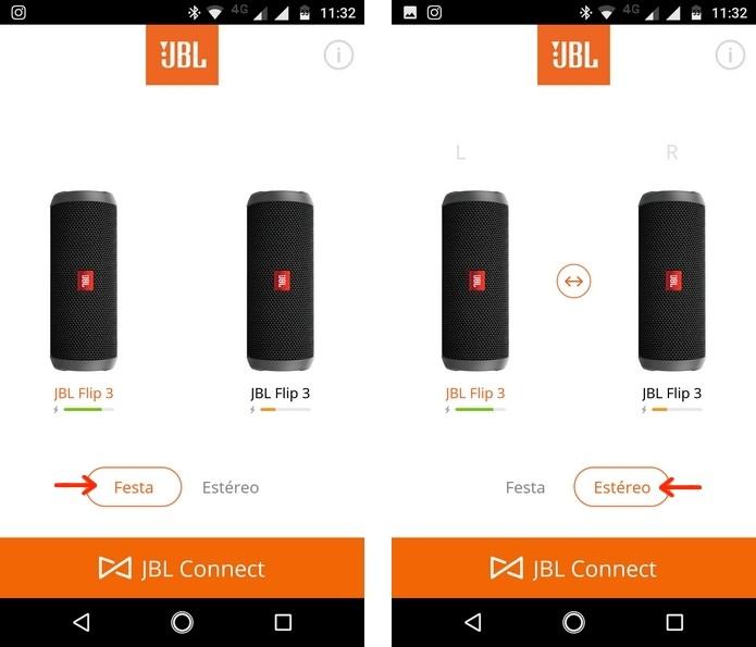 Como conectar duas ou três caixas de som da JBL ao mesmo