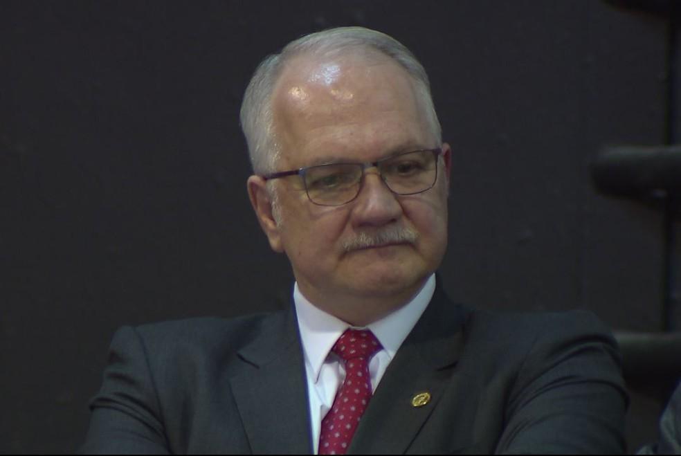 'Juízes também erram, mas o judiciário é essencial à vida democrática', disse o ministro Fachin, durante congresso realizado em Londrina (Foto: Reprodução/RPC)