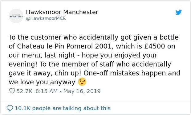 Dono do restaurante Hawksmoor Manchester se pronunciou no Twitter após confusão entre vinhos (Foto: Reprodução/Twitter)