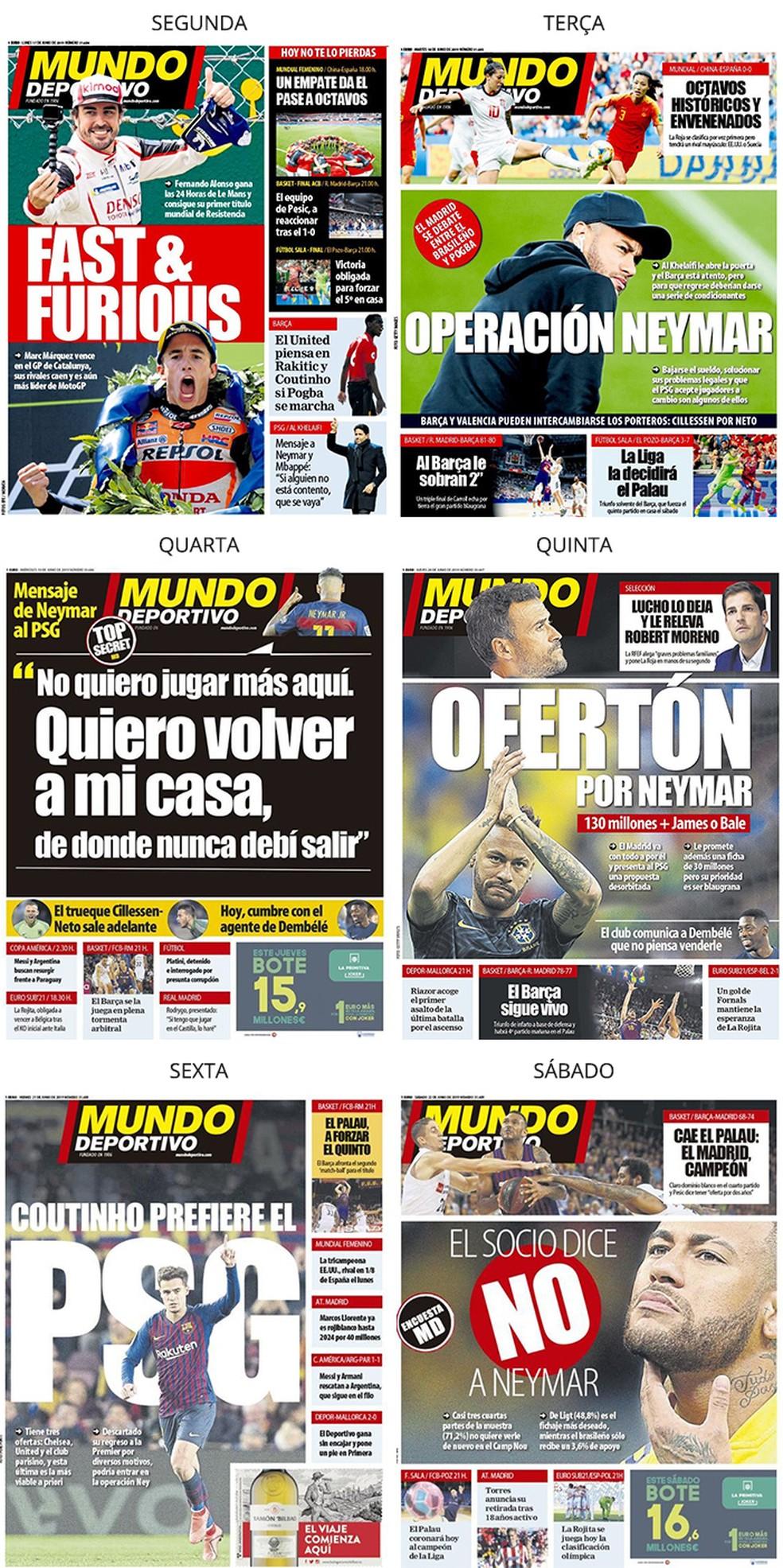 Mundo Deportivo também destaca Neymar — Foto: Reprodução / Neymar