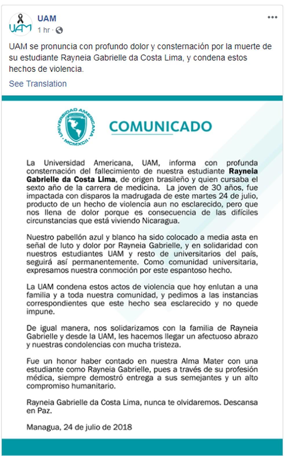 Universidade na Nicarágua onde Raynéia estudava publicou nota nas redes sociais (Foto: UAM/Reprodução/Facebook)