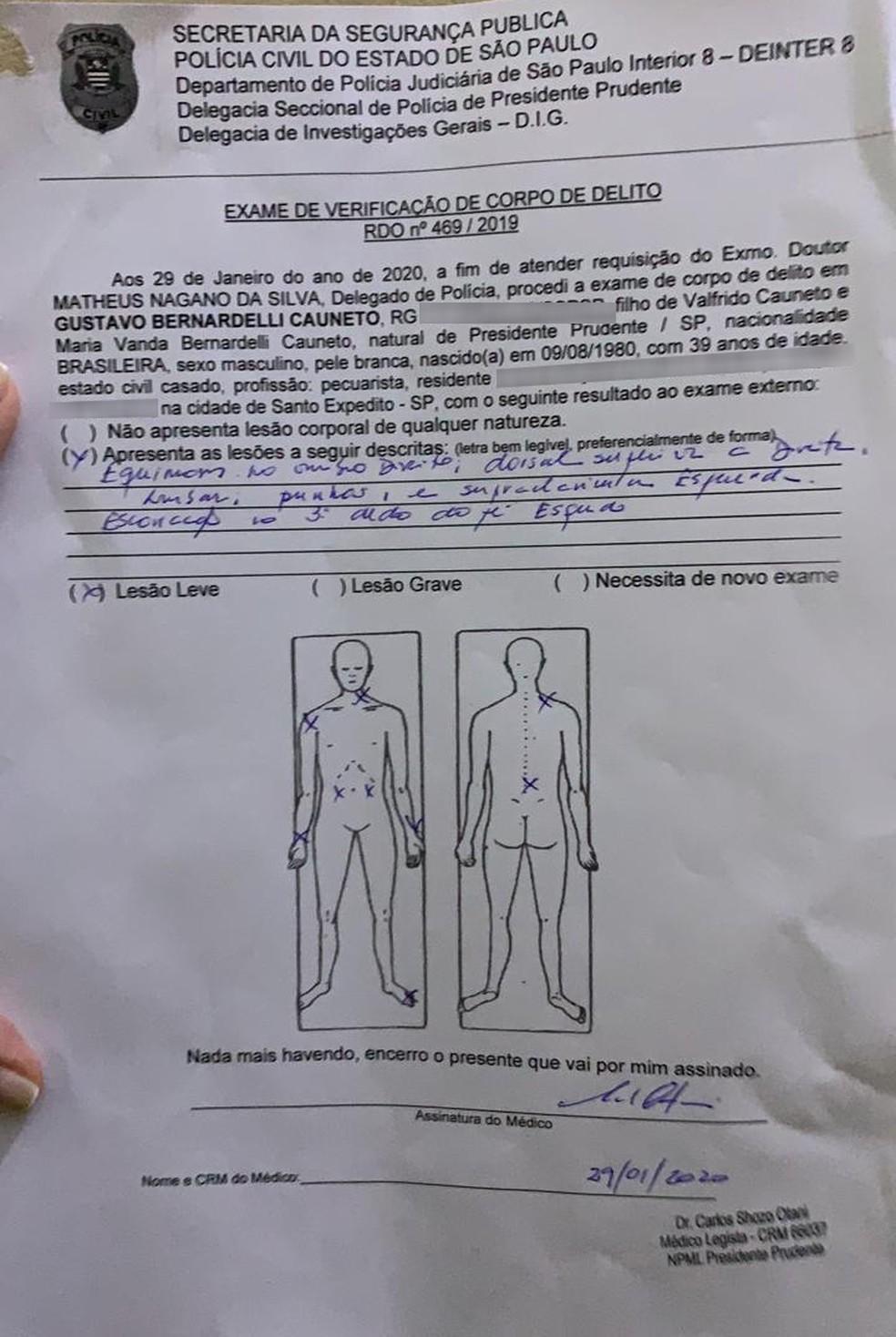 Laudo do exame de corpo de delito aponta que o suspeito possui lesões leves — Foto: Sílvia Duarte de Oliveira Couto/Cedida