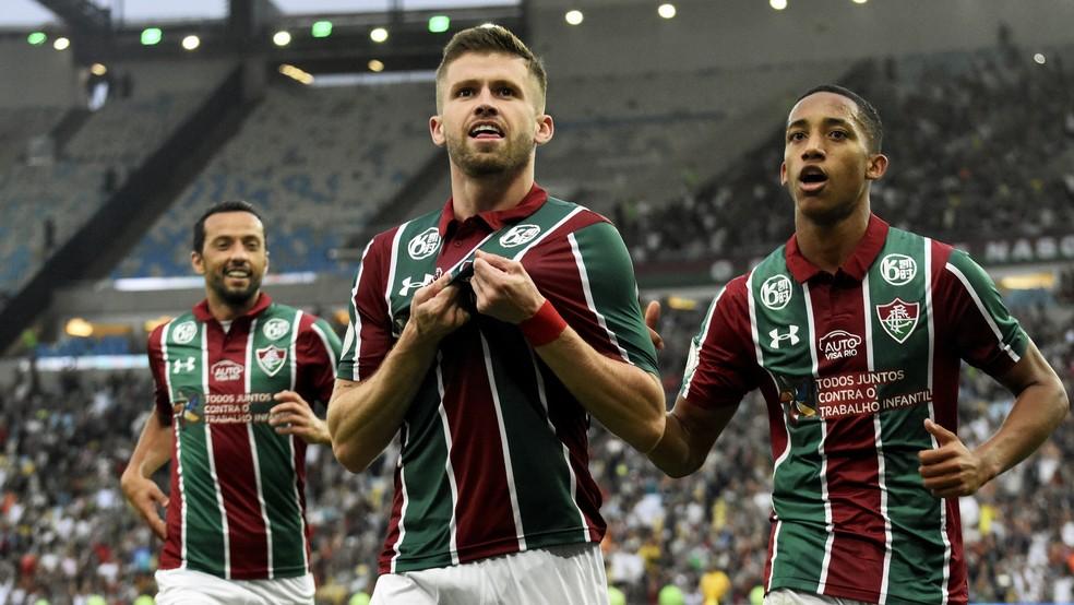 Caio Henrique comemora gol pelo Fluminense — Foto: Mailson Santana/Fluminense