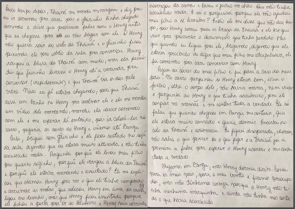 Caso Henry Borel: carta de Monique Medeiros (parte 13) — Foto: Reprodução