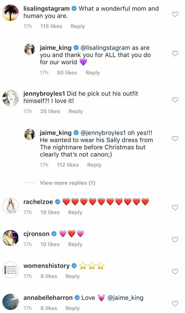 Famosos elogiam Jaime King por permitir que filho usasse vestido e batom em première (Foto: Reprodução/Instagram)