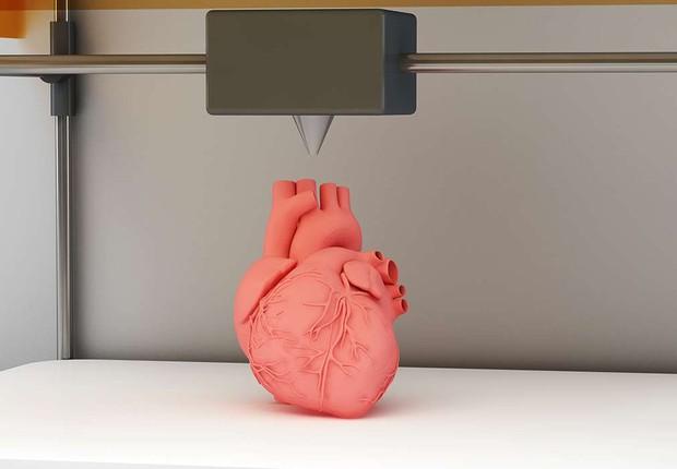 Coração feito em impressora 3D (Foto: Reprodução/YouTube)
