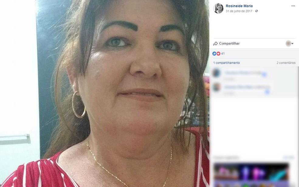 Rosineide Maria de Souza, de 45 anos, que estava desaparecida e foi encontrada morta no Rio Vermelho, em Rondonópolis — Foto: Facebook/Reprodução