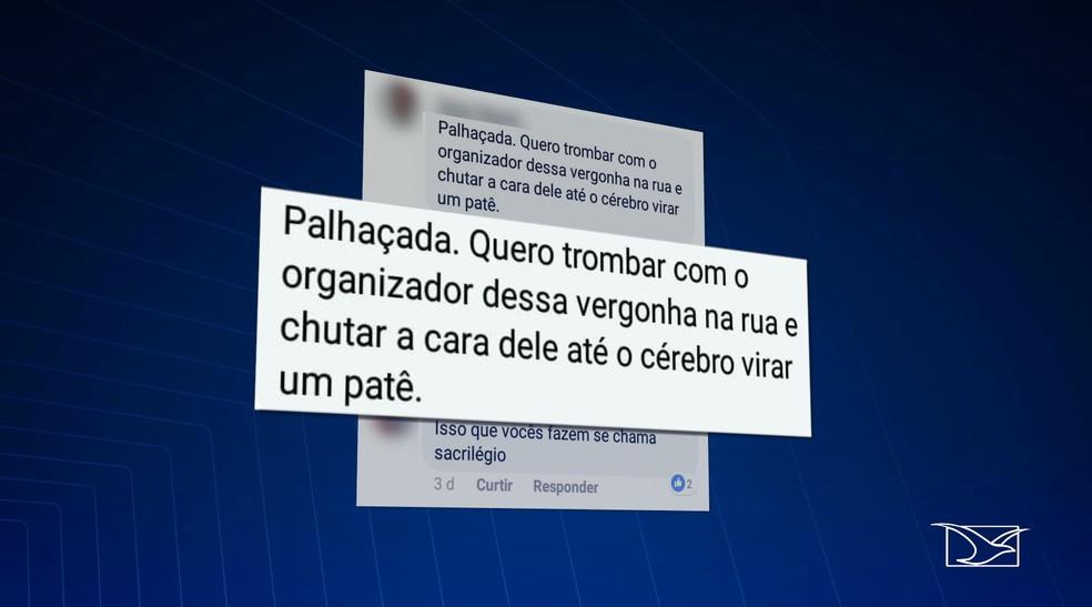 Internauta faz ameaças violentas durante divulgação da missa dos quilombos em São Luís — Foto: Reprodução/TV Mirante