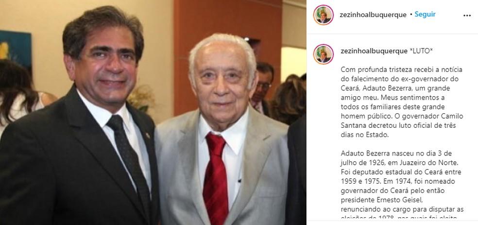 Zezinho Albuquerque também lamentou a morte de Adauto Bezerra — Foto: Reprodução/Instagram