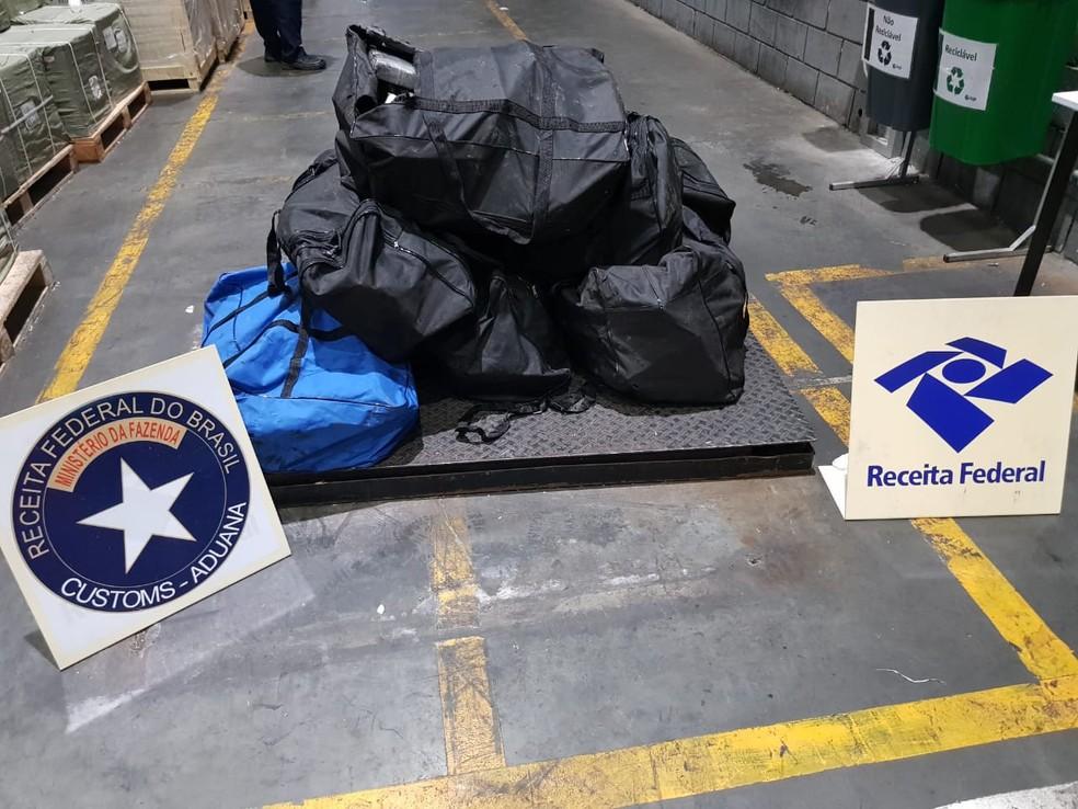 De janeiro a julho de 2019, foram apreendidas 7,5 toneladas de cocaína no Porto de Paranaguá — Foto: Divulgação/Receita Federal do Brasil