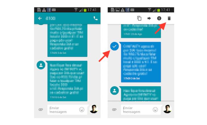Deletando uma mensagem específica no Google Messenger em um dispositivo Android (Foto: Reprodução/Marvin Costa)