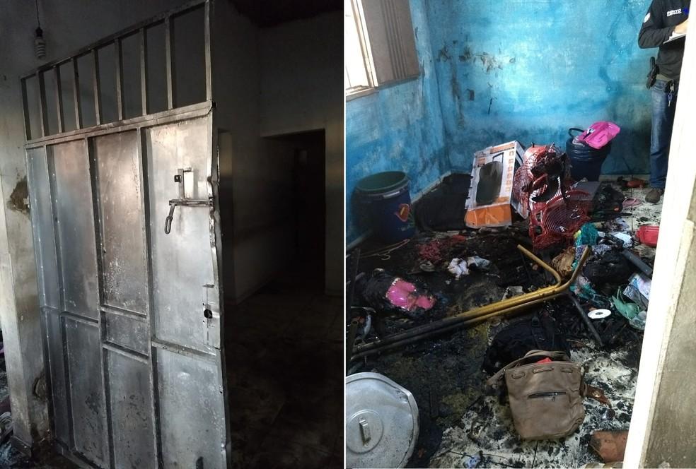 Portão de ferro trancado dificultou o resgate de um casal do incêndio no bairro Piçarra. (Foto: Divulgação/PM)