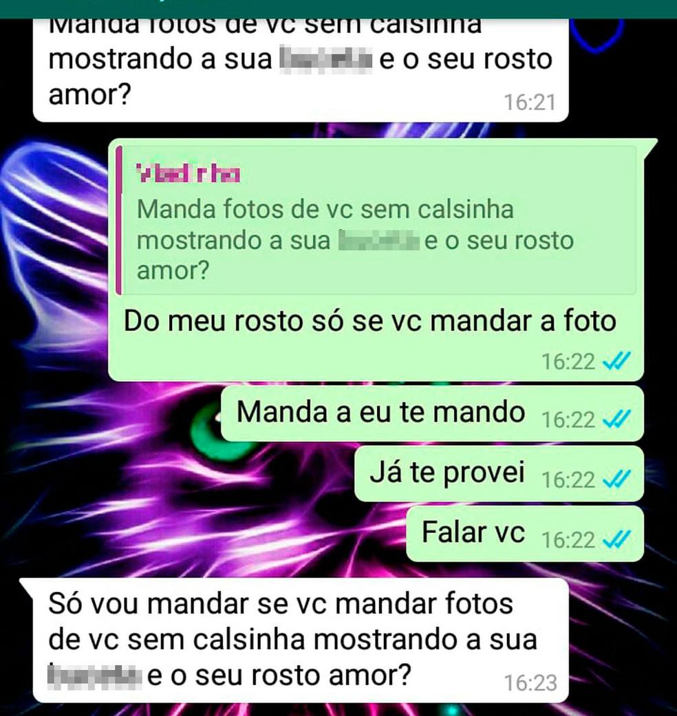 Homem pediu fotos íntimas à vítima pelo celular — Foto: SSP/ Divulgação