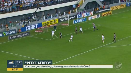 Com dois gols de cabeça, Santos ganha de virada do Ceará