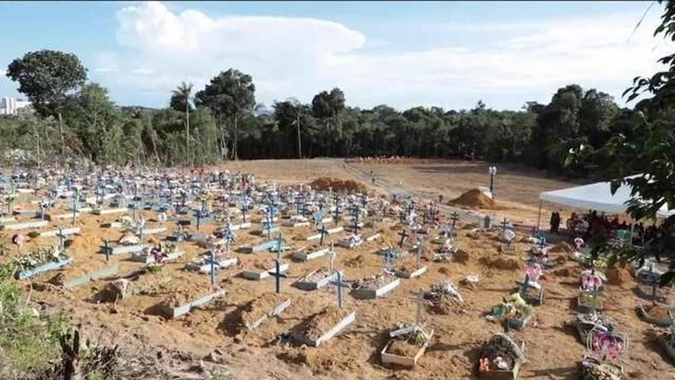Média diária de enterros triplica em Manaus, e prefeitura abre valas comuns em cemitérios públicos — Foto: Reprodução/TV Globo