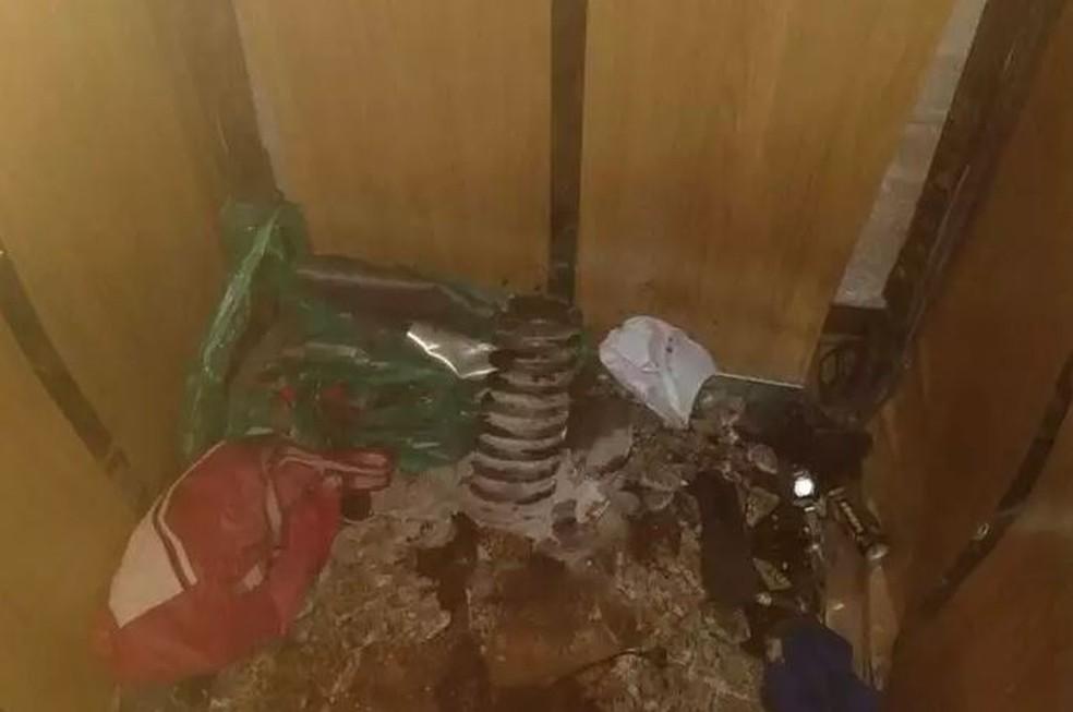 Fotos divulgadas nesta sexta-feira (3) mostram a parte interna do elevador que despencou e matou quatro pessoas da mesma família em Santos — Foto: A Tribuna de Santos