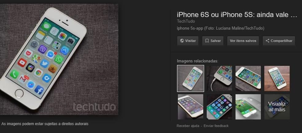 """Google remove botão """"Ver imagem"""" no resultado de pesquisa do site (Foto: Reprodução/Rodrigo Fernandes)"""