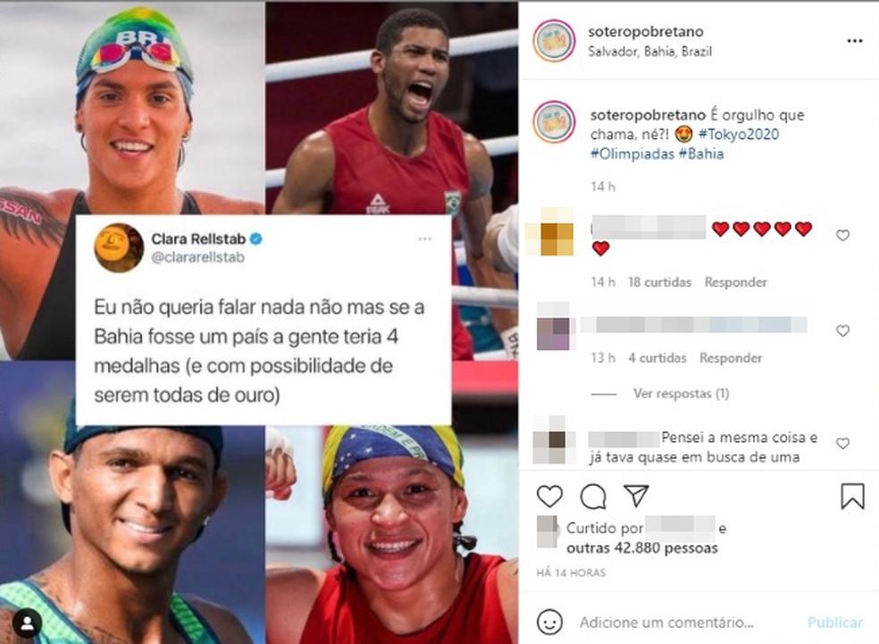 Desempenho dos baianos nas Olimpíadas de Tóquio rende memes na internet — Foto: Reprodução / Redes SOSICIAS