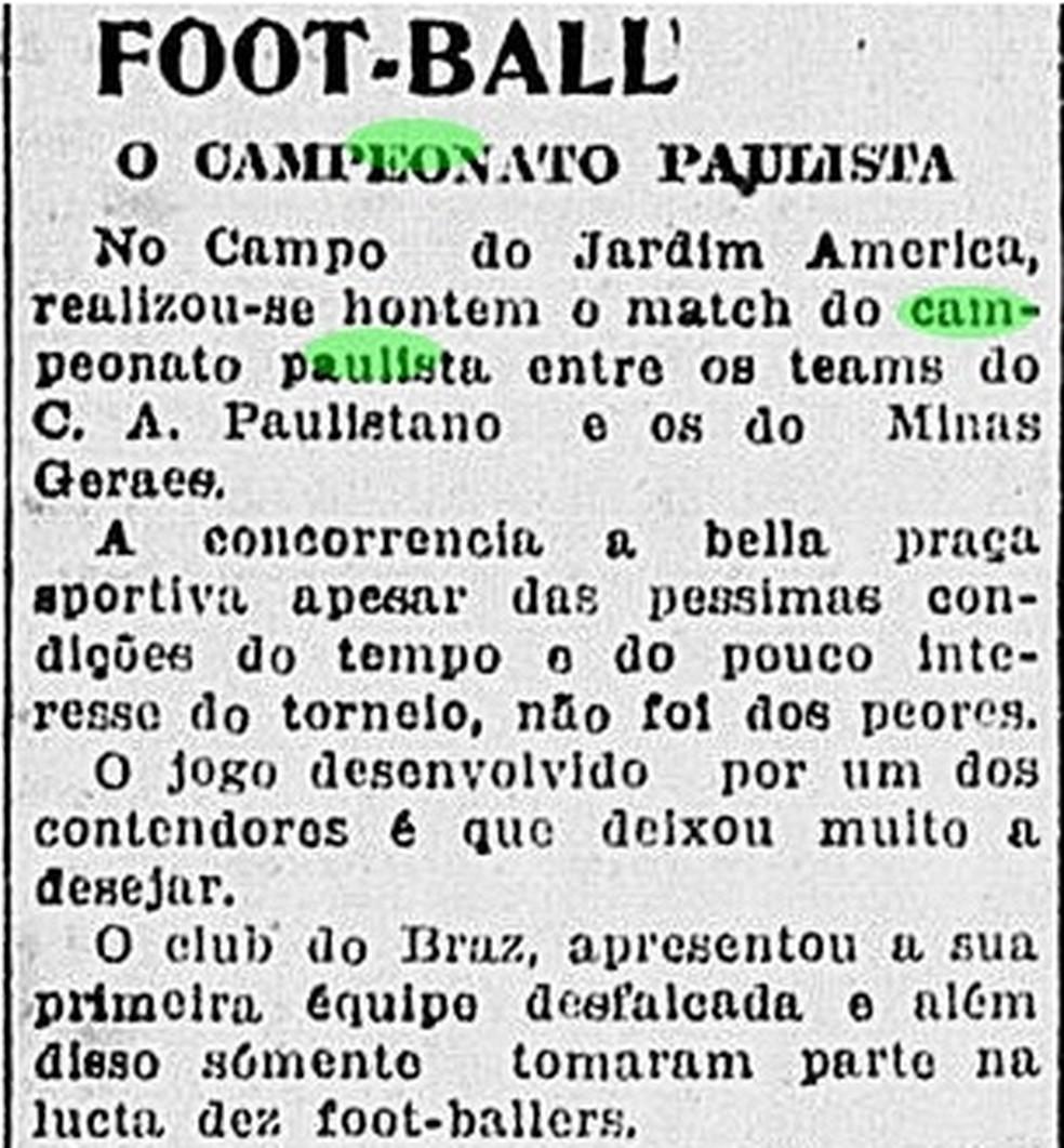 Campeonato Paulista teve jogos disputados em meio aos primeiros casos de gripe espanhola, em 1918 — Foto: Reprodução/Correio Paulistano