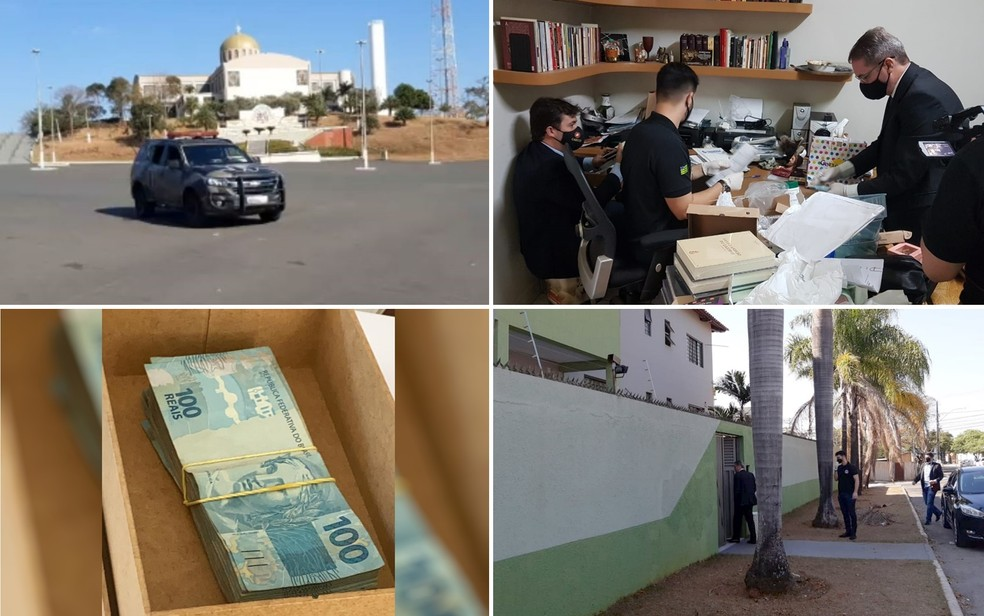 MP deflagra operação da Afipe, em Trinadade e mira padre Robson em Goiás — Foto: Montagem/G1