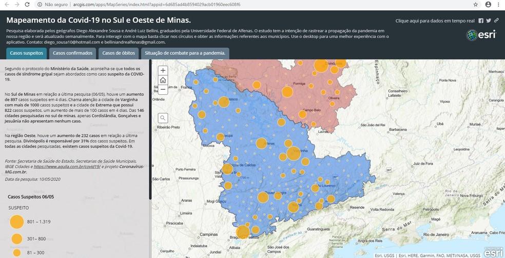 Plataforma criado por professor de Campo Belo (MG) mapeia casos de coronavírus no sul e oeste de MG — Foto: Reprodução/EPTV