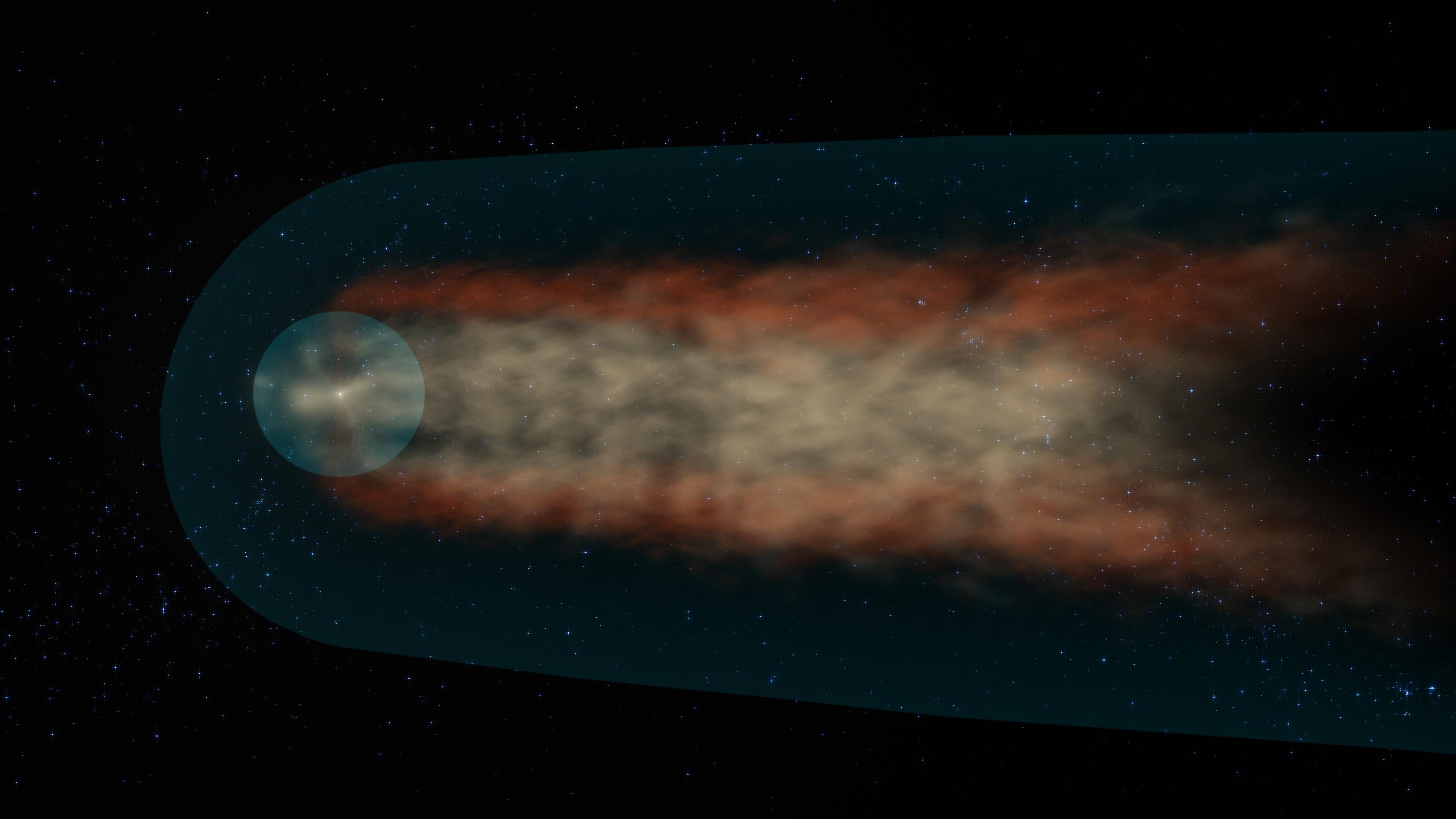 Para alguns cientistas, a heliosfera tem o formato de um cometa (Foto: NASA's Scientific Visualization Studio/Conceptual Imaging Lab)