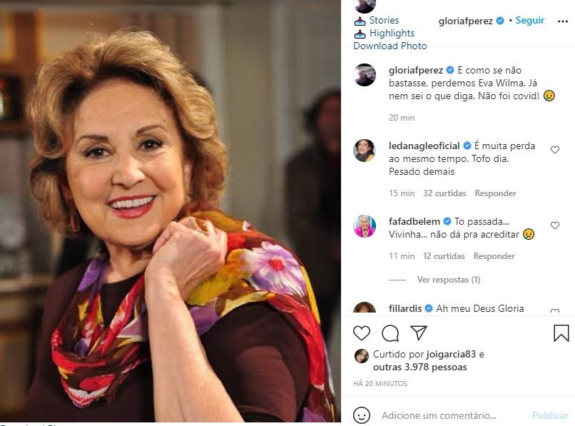 Glória Perez se despede de Eva Wilma (Foto: Reprodução Instagram)