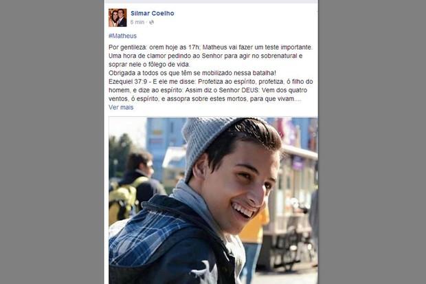 Pastor Silmar Coelho fala sobre estado de saúde de Matheus (Foto: Reprodução/Facebook)