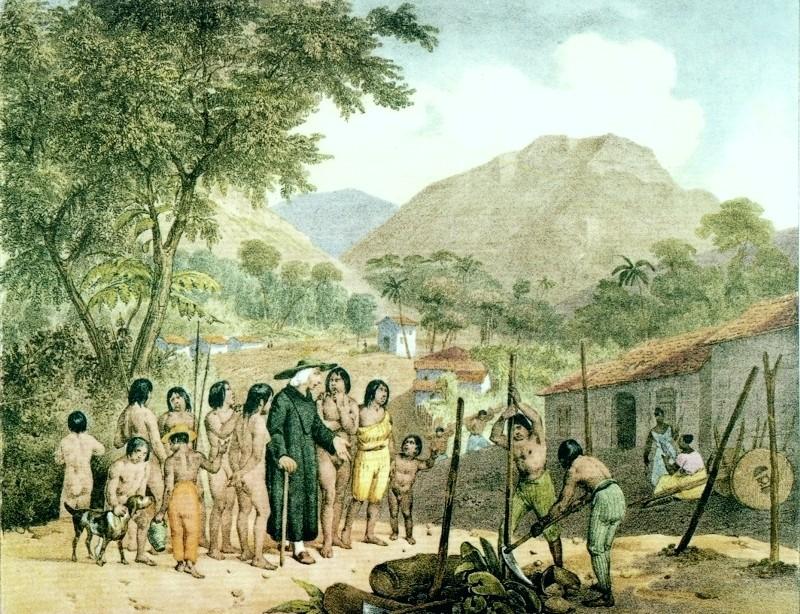 Missionários com índios Tapuia no início do século XIX (Foto: Wikimedia/Johann Moritz Rugendas )