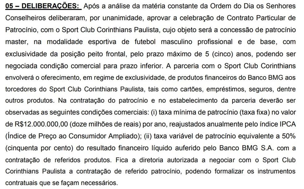 Ata de reunião disponível no site do BMG trata de patrocínio ao Corinthians — Foto: Reprodução