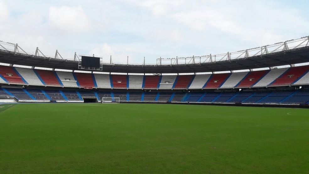 Estádio Metropolitano nesta segunda-feira, por volta de 9h30 (Foto: Bruno Giufrida / GloboEsporte.com)