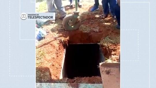 Cova desaba e deixa duas pessoas feridas em cemitério de Taguatinga