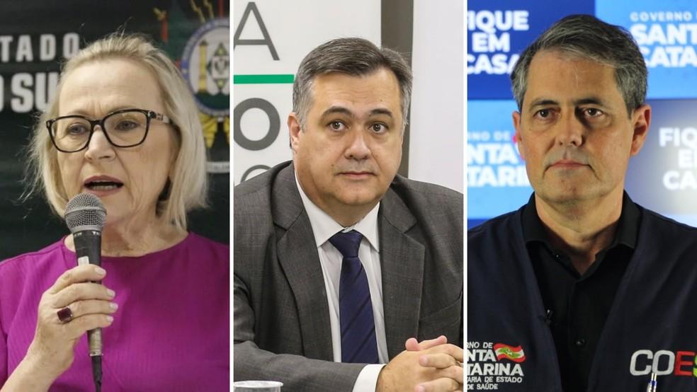 Secretários Arita Bergmann, do RS, Beto Preto, do PR, e André Motta Ribeiro, de SC — Foto: Divulgação