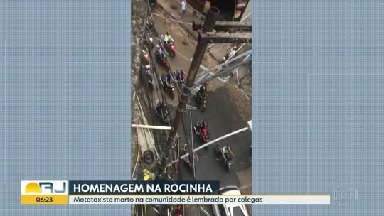 Mototaxistas homenageiam colega morto na Rocinha