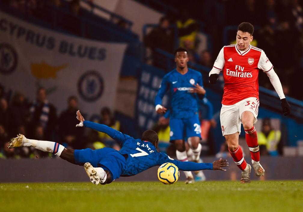 Gabriel Martinelli em partida pelo Arsenal contra o Chelsea — Foto: Stuart MacFarlane/Arsenal FC